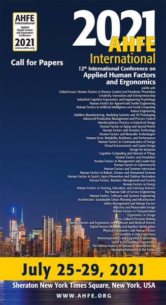 Image of the first page of the Call for Papers .pdf for the 2021 AHFE conference