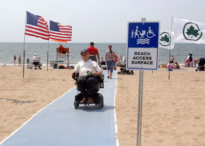 Photo of beach access mat.