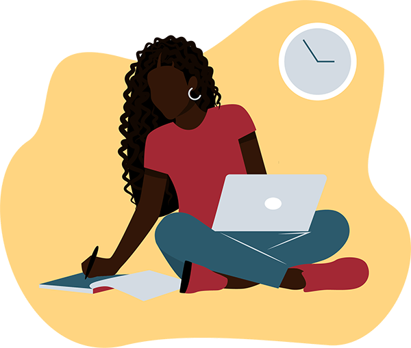 Illustration of Black Female Student Studying with a laptop