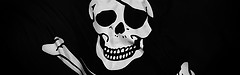 Image of a pirate flag's skull and crossbones