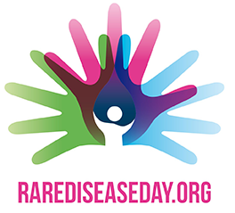 Colorful logo for Rare Disease Day (a human figure with larger open green, red, and blue hands fanned out behind it.